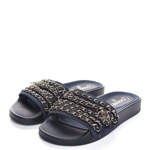 62049def790 CHANEL Shoes - CHANEL Satin Chain Flat Sandals